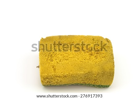 Old dirty sponges on white background - stock photo