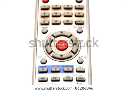 Old dirty tv remote isolate on white background - stock photo