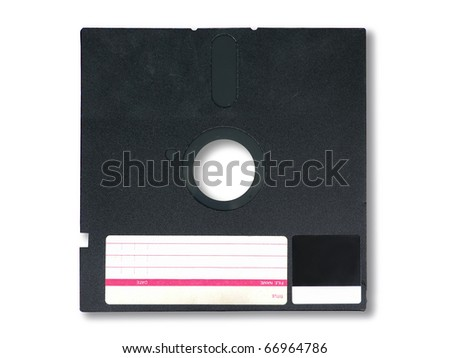 Old diskette 5.25 inches with label on white background - stock photo