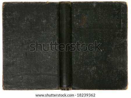 Old Distressed Vintage Black Book Background Cover Back and Spine Showing - stock photo