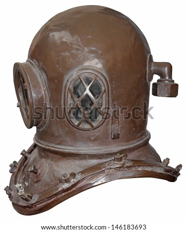 Old diving helmet isolated on white background - stock photo
