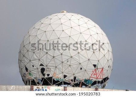 Old dome of a radar antenna of a listening station - stock photo