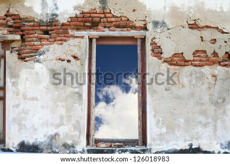 old door and blue sky - stock photo
