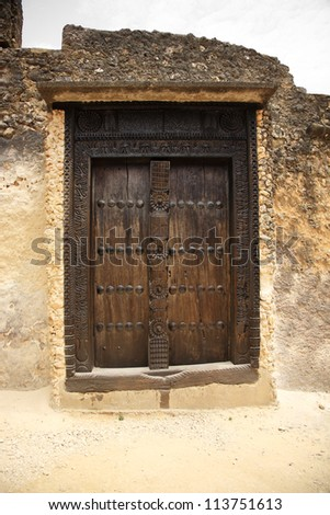 Old door Fort Jesus Mombasa Kenya Africa - stock photo