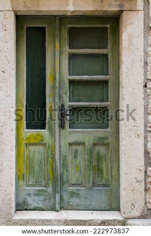 Old door from Korcula, Croatia - stock photo
