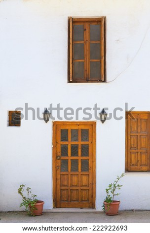old door in abandoned house - stock photo