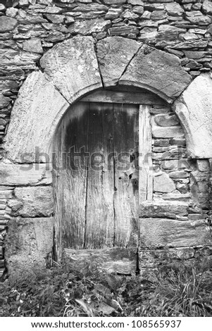 old door in black and white - stock photo