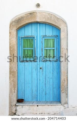Old door island of Kythira, Greece, Europe  - stock photo