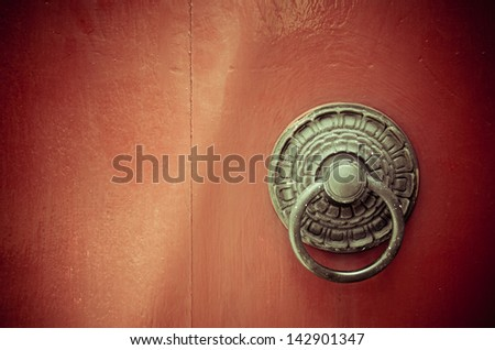 Old Door of Wat Trithotsathep, Bangkok, Thailand, Buddhist Temple - stock photo