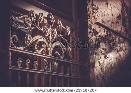 Old door with forged iron ornament in Old Tbilisi, Georgia. Toned picture - stock photo