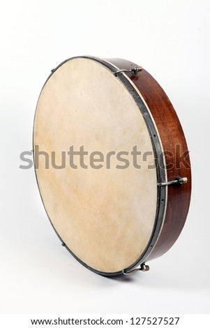 Old Drum isolated on a white background - stock photo