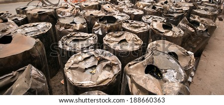 old drums - stock photo