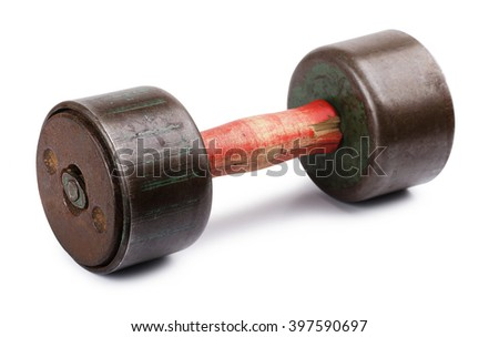 Old dumbbell isolated on a white background  - stock photo