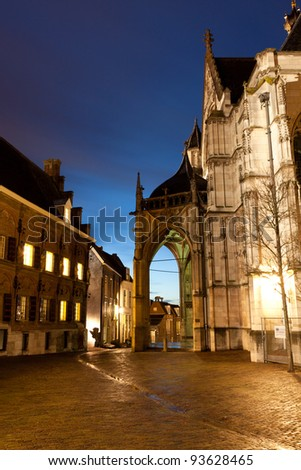 Old dutch city Nijmegen, The Netherlands at night - stock photo