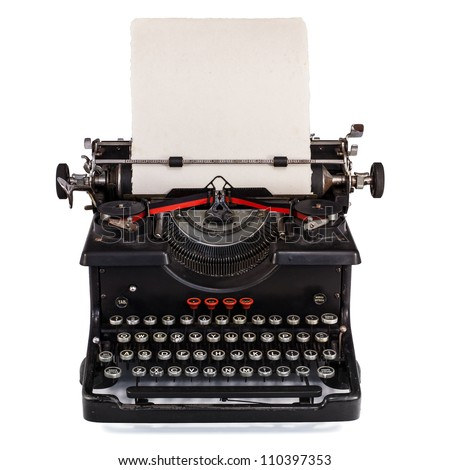 Old Dutch type writer with paper sheet isolated on white - stock photo