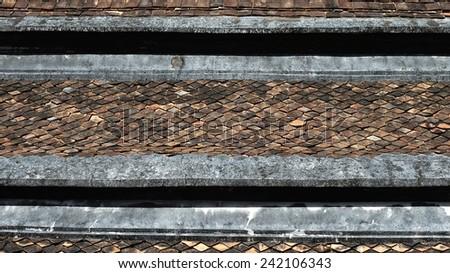 Old earthenware roof, Wat Phutthaisawan, Ayuttaya,Thailand - stock photo