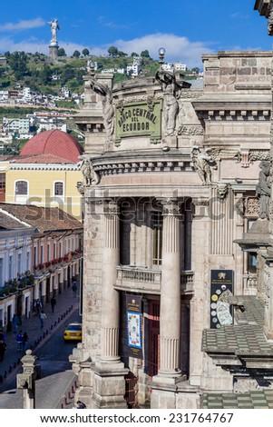old ecuadorian central bank with Panecillo in the background Quito Ecuador South America - stock photo
