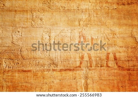 old egypt hieroglyphs on papyrus background - stock photo