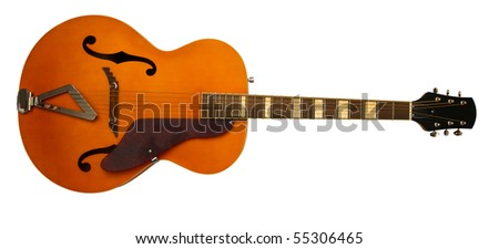 old electric guitar with clipping path - stock photo