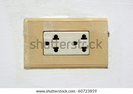 old electrical outlet on a white wall. - stock photo