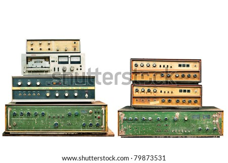 old electronic audio control knob - stock photo