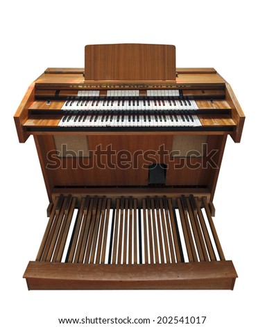 Old electronic organ isolated on white background - stock photo