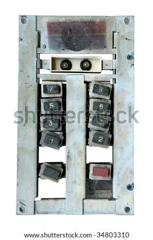 old elevator panel isolated on white background - stock photo
