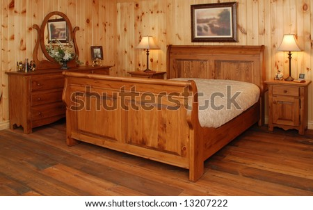 Old Empty Bedroom set  in natural pine wood - stock photo