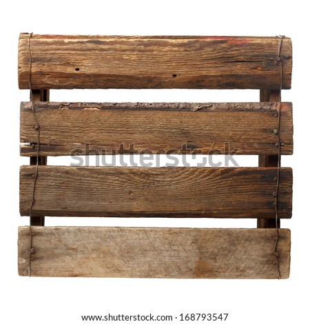 Old empty crate isolated on white, bottom view - stock photo
