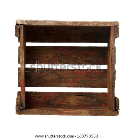 Old empty crate isolated on white, top view, all in focus - stock photo