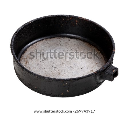Old empty frying pan isolated on white background - stock photo
