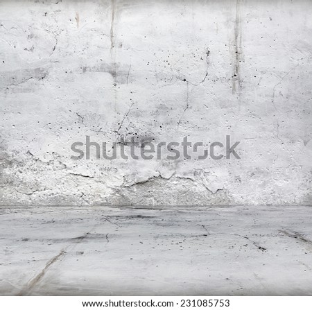 old empty room with concrete wall, interior background - stock photo