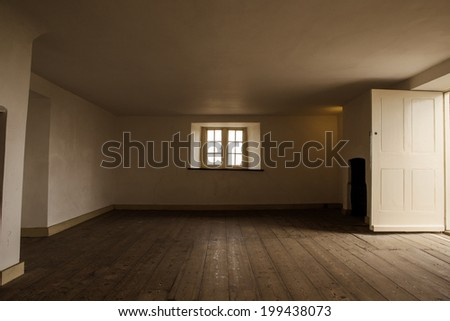 old empty room with wooden floor boards - stock photo