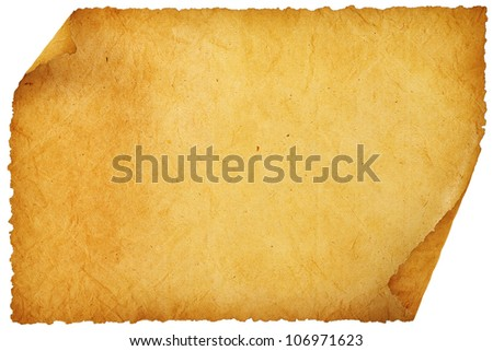 old empty sheet of paper with rolled edges. - stock photo