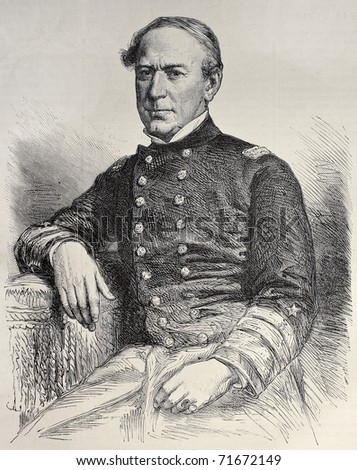 Old engraved portrait of David Farragut, the first Admiral in the United States Navy. Created by Robert, after photo of Liebert, published on L'Illustration, Journal Universel, Paris, 1968 - stock photo