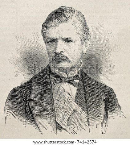 Old engraved portrait of  Iovan Marinovic, president of Serbian Senate. Created by Janet-Lange,   published on L'Illustration, Journal Universel, Paris, 1868 - stock photo