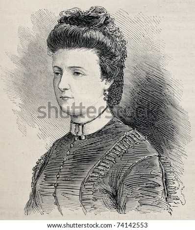 Old engraved portrait of Julie Obrenovich, widow of Prince Mihailo Obrenovich. Created by Janet-Lange after photo of  Disderi, publ. on L'Illustration, Journal Universel, Paris, 1868 - stock photo