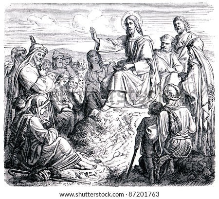 """Old engravings. Jesus says to the Mount of Olives sermon. The book """"History of the Church"""", circa 1880 - stock photo"""