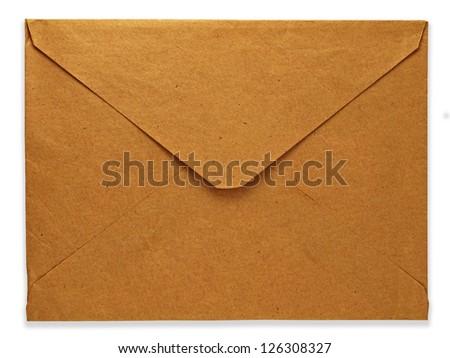 old envelope isolated on white background - stock photo