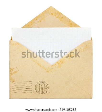 Old envelope with blank card on a white background - stock photo