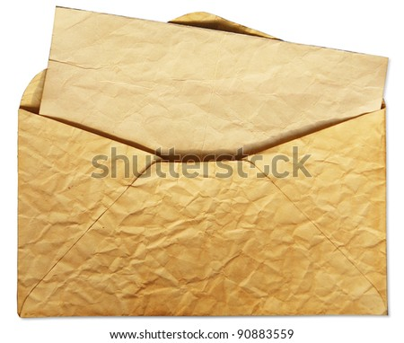 Old envelope with letter inside isolate  on white background - stock photo