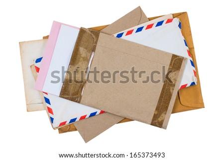 Old envelopes isolated on white background - stock photo