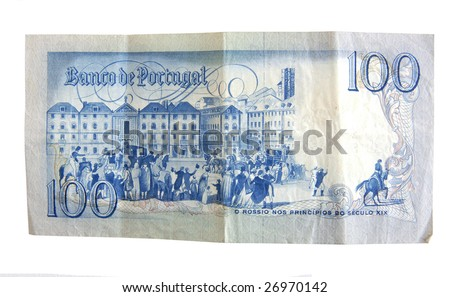 Old  Escudo bills from Portugal isolated on white. - stock photo