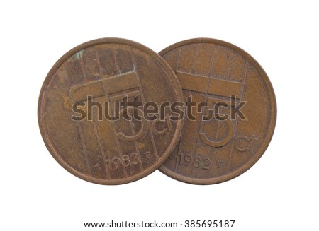 Old 5 euro cent coins, isolated on white - stock photo