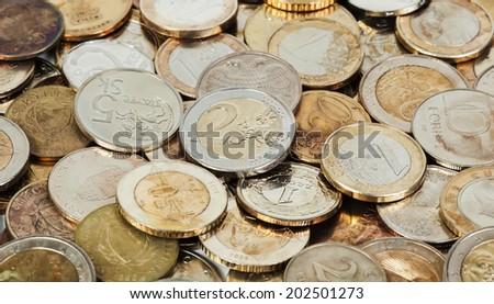 Old european coins background - stock photo