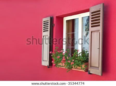 Old European Wooden Windows - stock photo