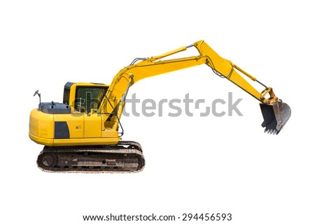 Old excavator isolated on white - stock photo