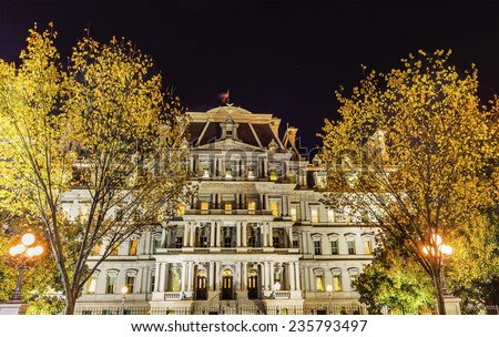 Old Executive Office Building Dwight Eisenhower Building, Vice President's Office, Night Washington DC - stock photo
