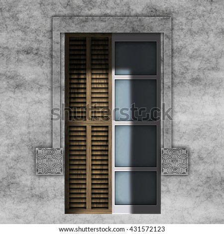Old facade with window and stone frame, 3d rendering, digital illustration art work. - stock photo