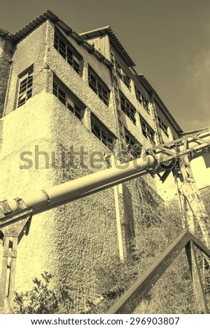 old factory abandoned coal processing - stock photo